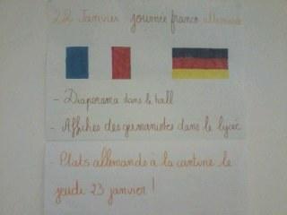 Affiche pour annoncer le programme de la semaine Franco-Allemande sur Jouy le Moutier