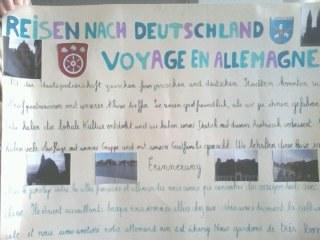 Affiche présentant les voyages de deux élèves en Allemagne